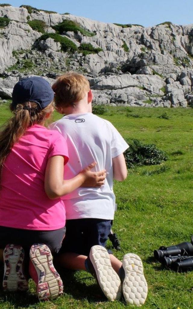 Deux enfants observent une marmotte en montagne