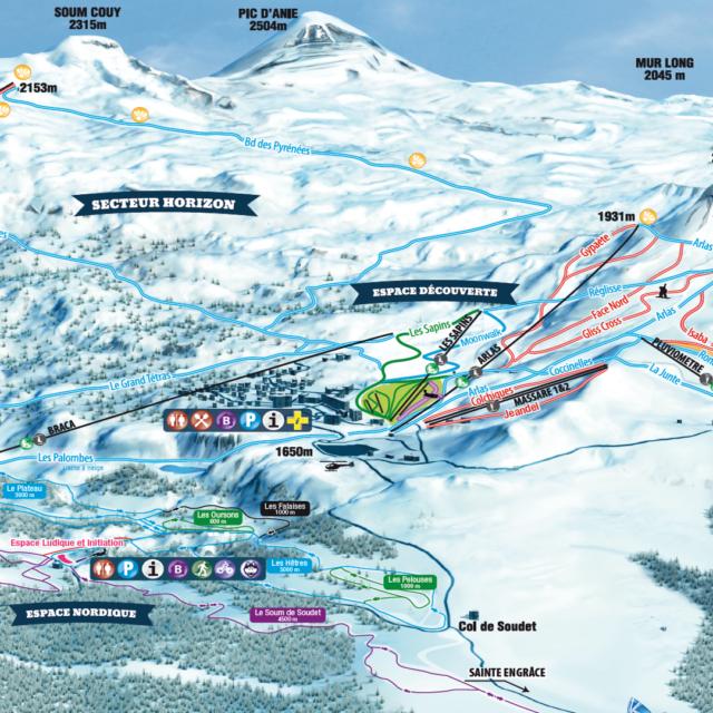 Plan des pistes de ski alpin de La Pierre Saint-Martin